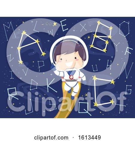 Kid Boy Astronaut Constellation Alphabet by BNP Design Studio
