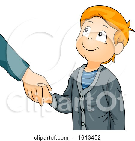 Kid Boy Greet Shake Hands Illustration Posters, Art Prints