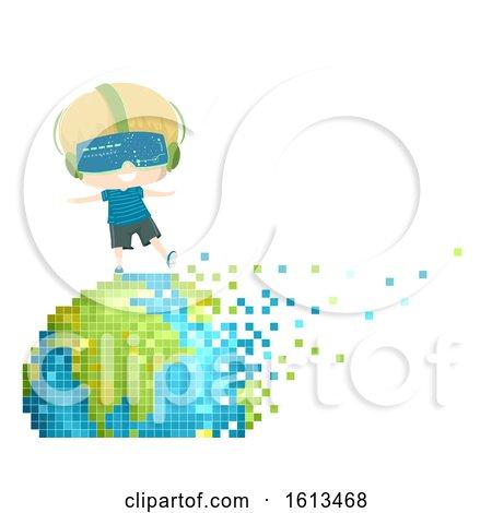 Kid Boy Earth Pixel Art Illustration by BNP Design Studio