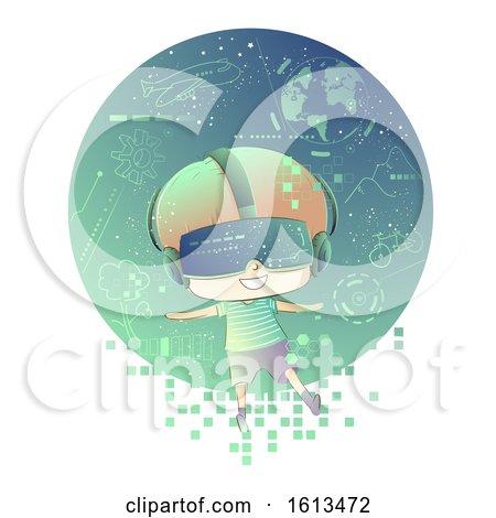 Kid Boy Virtual Reality Goggles Illustration by BNP Design Studio