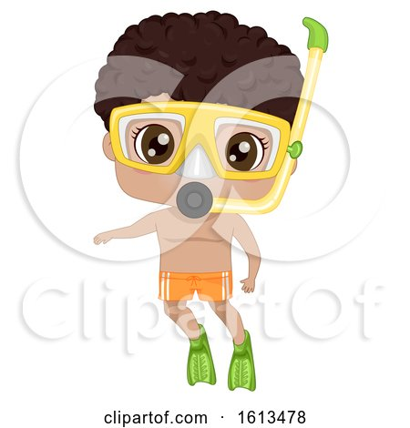 Kid Black Boy Snorkeling Illustration Posters, Art Prints