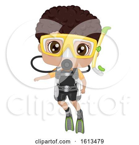 Kid Boy Black Scuba Dive Illustration by BNP Design Studio