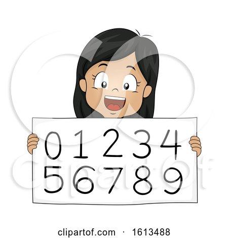 Kid Girl Hindu Arabic Numeral System Illustration by BNP Design Studio