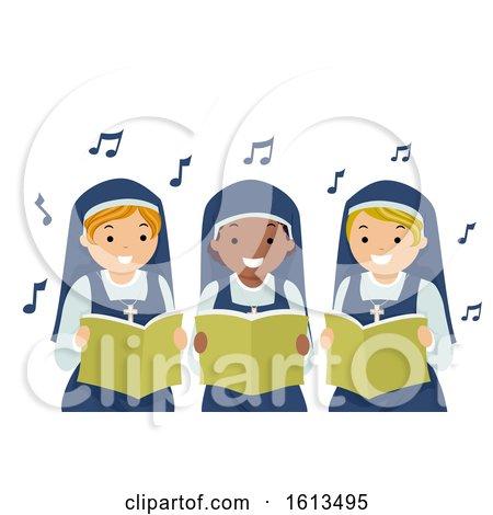 Stickman Girls Nun Singing Illustration by BNP Design Studio