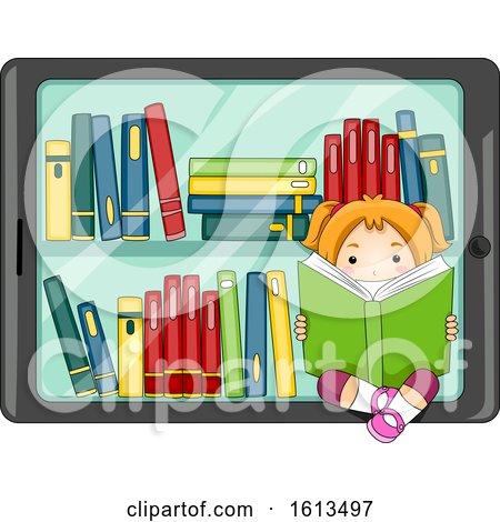 Kid Girl Tablet Digital Library Illustration by BNP Design Studio