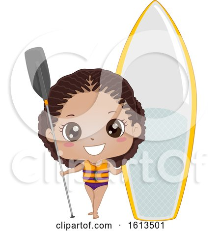 Kid Girl Black Paddleboarding Illustration by BNP Design Studio
