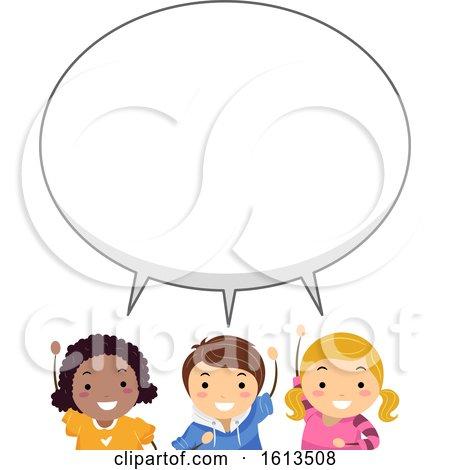 Stickman Kids Big Speech Bubble Illustration by BNP Design Studio