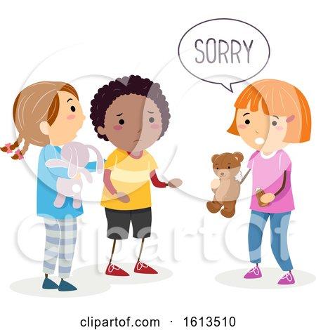 Stickman Kids Broken Toy Sorry Illustration by BNP Design Studio