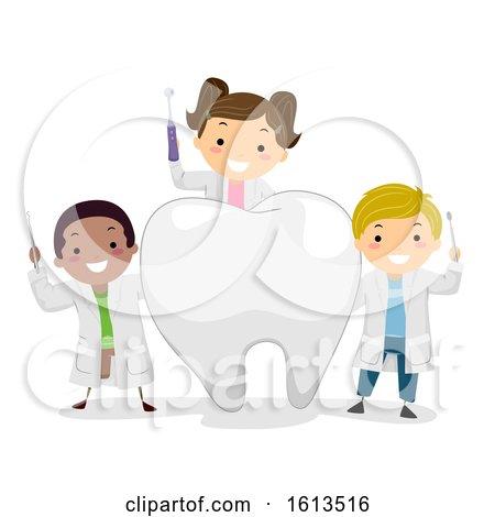 Stickman Kids Little Dentist Tooth Illustration by BNP Design Studio