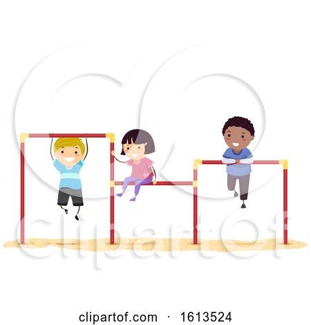 Stickman Kids Playground Triple Horizontal Bar by BNP Design Studio