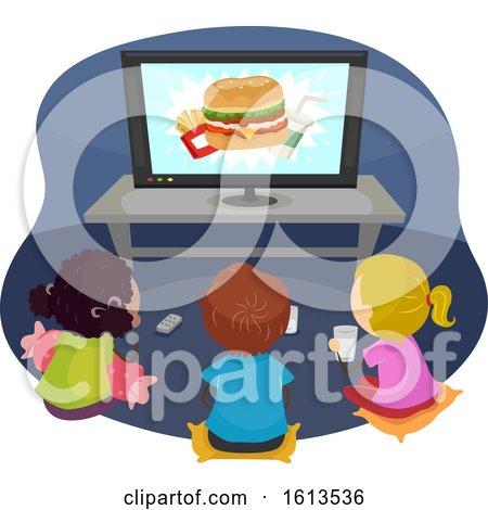 Stickman Kids Watch Fast Food Junk Food Commercial by BNP Design Studio