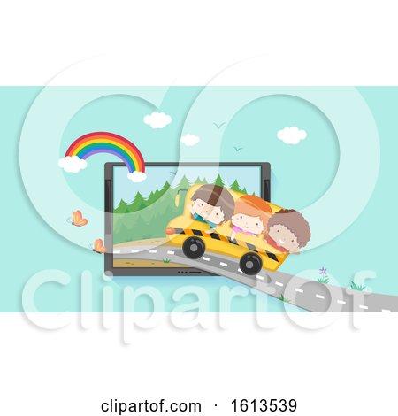 Kids Virtual Field Trip Laptop Illustration by BNP Design Studio