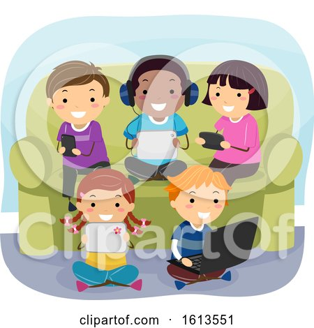 Stickman Kids Gadgets Couch Illustration by BNP Design Studio