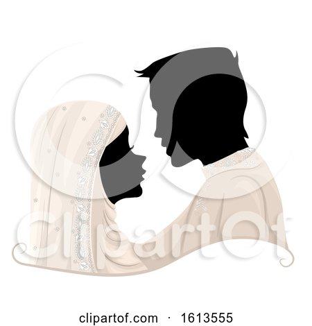 Silhouette Couple Muslim Wedding Illustration by BNP Design Studio
