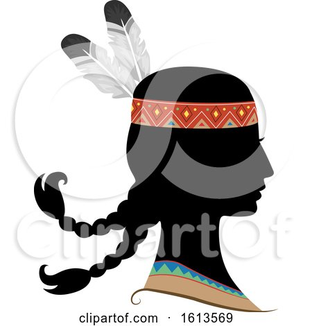 Silhouette Girl Native American Indian by BNP Design Studio