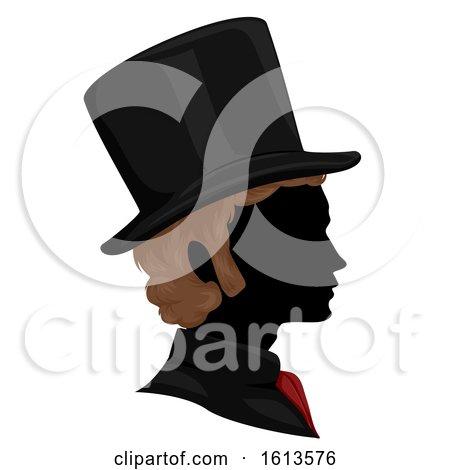 Silhouette Man Victorian Hair Hat Illustration by BNP Design Studio