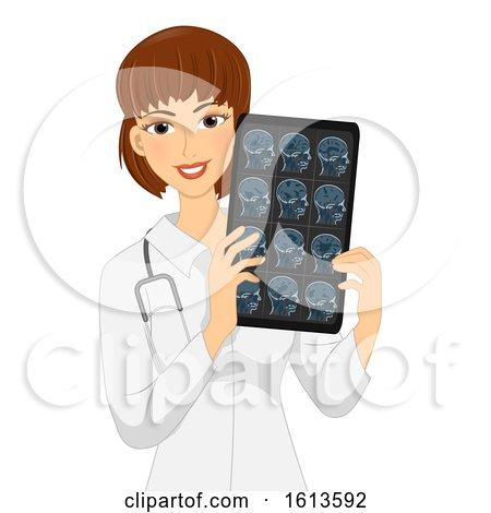 Girl Neurologist Head Xray Illustration by BNP Design Studio