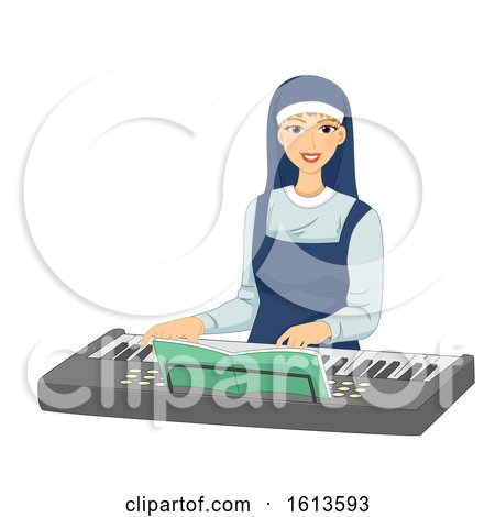 Girl Nun Keyboard Illustration by BNP Design Studio