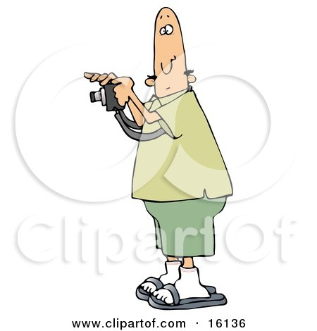Bald Male Tourist In Green Taking A Picture With A Camera Clipart Illustration by djart
