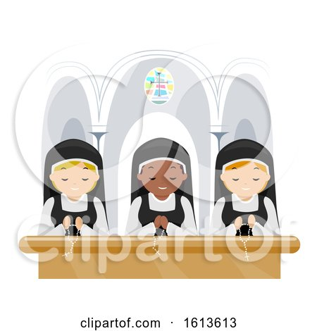 Stickman Girls Nun Pray Church Illustration by BNP Design Studio