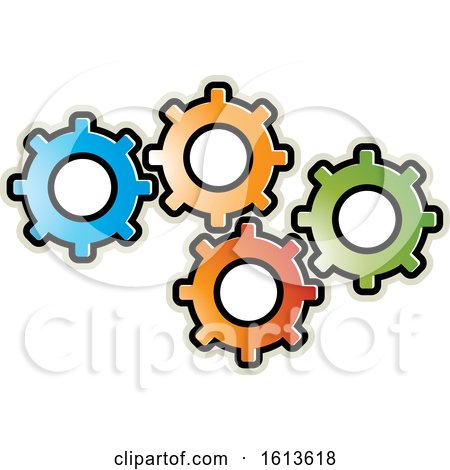 Clipart of a Group of Colorful Gear Cog Wheels - Royalty Free Vector Illustration by Lal Perera