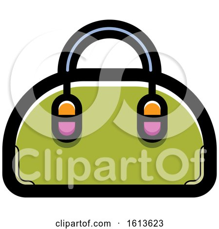 Clipart of a Green Hand Bag - Royalty Free Vector Illustration by Lal Perera