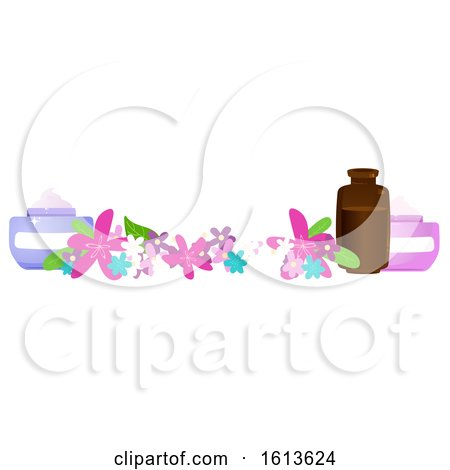 Clipart of a Flower and Beauty Product Banner - Royalty Free Vector Illustration by Melisende Vector