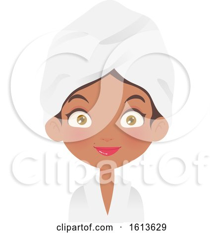 Clipart of a Black Girl Wearing a Spa Robe and Towel on Her Head - Royalty Free Vector Illustration by Melisende Vector