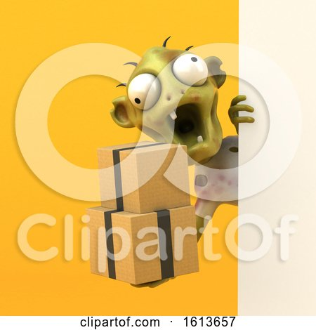 Clipart of a 3d Zombie, on a Yellow Background - Royalty Free Illustration by Julos