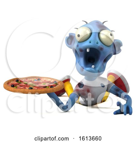 Clipart of a 3d Blue Zombie, on a White Background - Royalty Free Illustration by Julos
