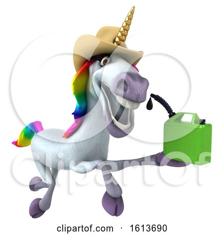Clipart of a 3d Unicorn, on a White Background - Royalty Free Illustration by Julos