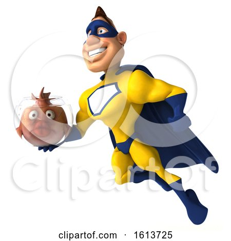 Clipart of a 3d Buff White Male Yellow and Blue Super Hero Holding a Fish Bowl, on a White Background - Royalty Free Illustration by Julos
