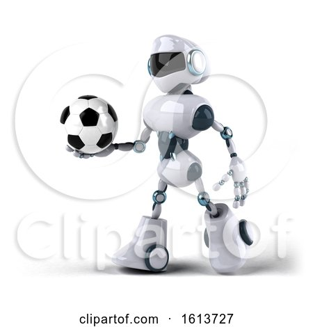 Clipart of a 3d Blue and White Robot, on a White Background - Royalty Free Illustration by Julos