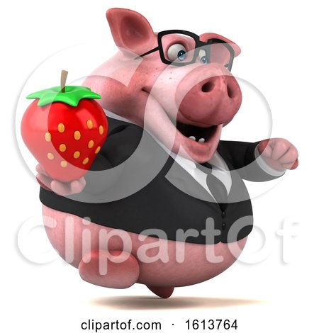 Clipart of a 3d Chubby Business Pig, on a White Background - Royalty Free Illustration by Julos