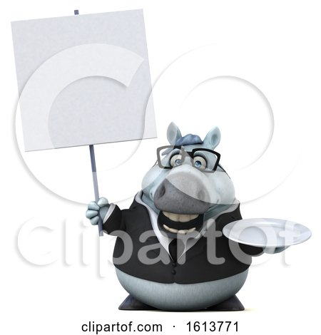Clipart of a 3d Chubby White Business Horse, on a White Background - Royalty Free Illustration by Julos