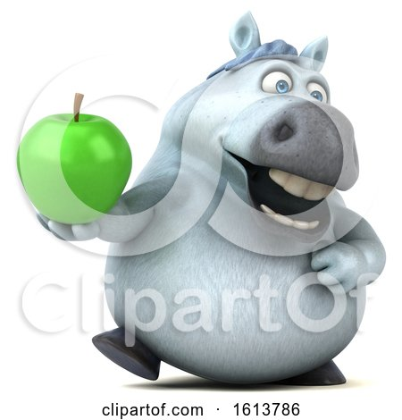 Clipart of a 3d Chubby White Horse, on a White Background - Royalty Free Illustration by Julos