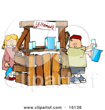 Little Boy And Girl, Brother And Sister, Selling Beverages At A Lemonade Stand Clipart Illustration by djart