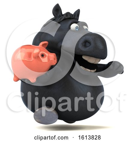 Clipart of a 3d Chubby Black Horse, on a White Background - Royalty Free Illustration by Julos