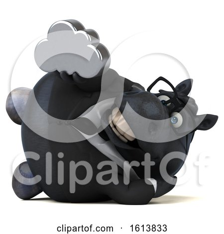 Clipart of a 3d Chubby Black Business Horse, on a White Background - Royalty Free Illustration by Julos