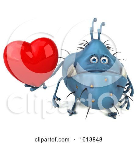 Clipart of a 3d Blue Germ Monster, on a White Background - Royalty Free Illustration by Julos
