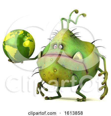 Clipart of a 3d Green Germ Monster, on a White Background - Royalty Free Illustration by Julos