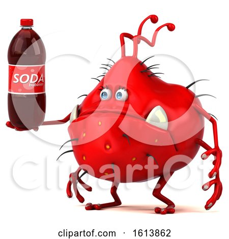 Clipart of a 3d Red Germ Monster, on a White Background - Royalty Free Illustration by Julos