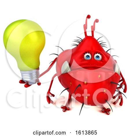 3d Red Germ Monster, on a White Background Posters, Art Prints