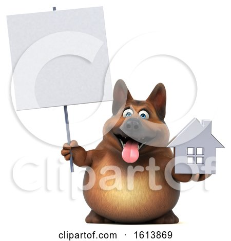 Clipart of a 3d German Shepherd Dog, on a White Background - Royalty Free Illustration by Julos