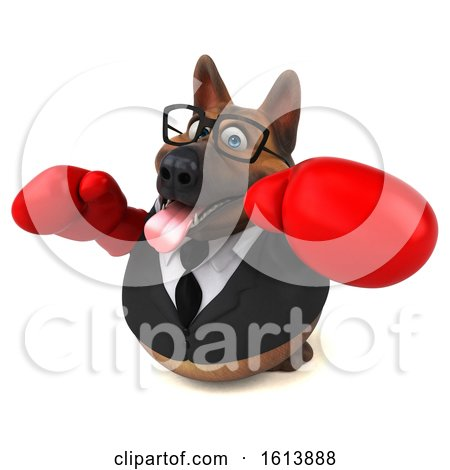 Clipart of a 3d Business German Shepherd Dog Wearing Boxing Gloves, on a White Background - Royalty Free Illustration by Julos