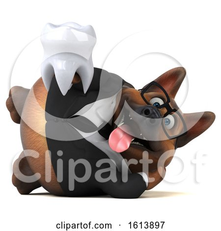 Clipart of a 3d Business German Shepherd Dog, on a White Background - Royalty Free Illustration by Julos