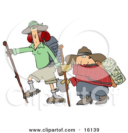 Skinny Woman Hiking With Her Husband That Is Out Of Shape, Kneeling And Taking A Drink From A Canteen Clipart Illustration by djart
