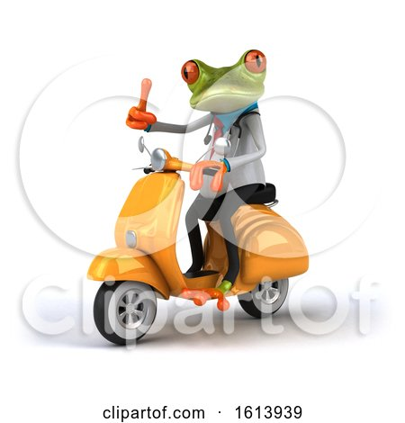 Clipart of a 3d Green Doctor Frog, on a White Background - Royalty Free Illustration by Julos