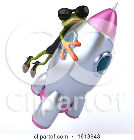 Clipart of a 3d Green Female Frog, on a White Background - Royalty Free Illustration by Julos