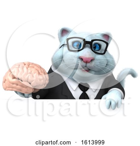 Clipart of a 3d White Business Kitty Cat, on a White Background - Royalty Free Illustration by Julos